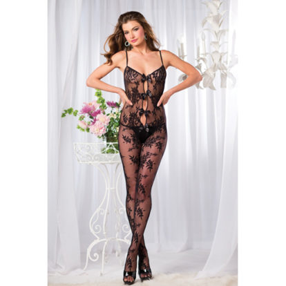 Catsuit With Rose Print And Bows-Be Wicked