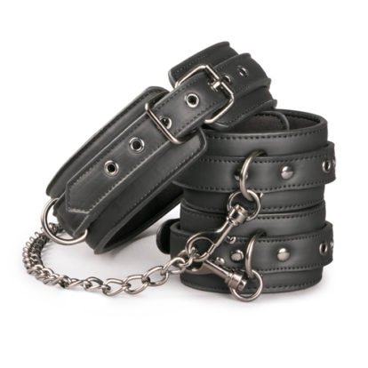 Leather Collar With Anklecuff-Easytoys Fetish Collection