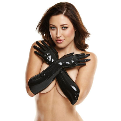 Long Latex Gloves - Black-LATEXWEAR