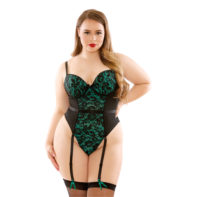 Jade Garter Corset With Lace - Black/Green-Curve