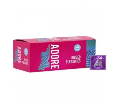Adore Ribbed Pleasure condoms 144 pcs-Pasante