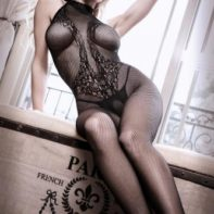 Lace Catsuit With Halterneck-Sheer Fantasy
