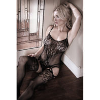 Lace Catsuit With Open Crotch - Black-Sheer Fantasy