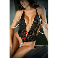 Lace Bodysuit With Pearls - Black-Vixen