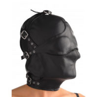 Asylum Leather Hood with Removable Blindfold and Muzzle-Strict Leather